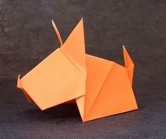 dry folded origami puppy