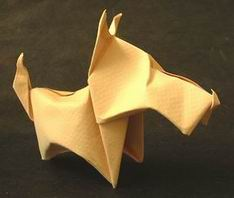 wet folded origami puppy