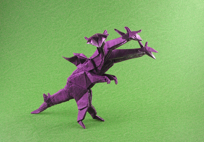 Ancient Dragon head by Satoshi Kamiya, folded by me. : origami | 487x700