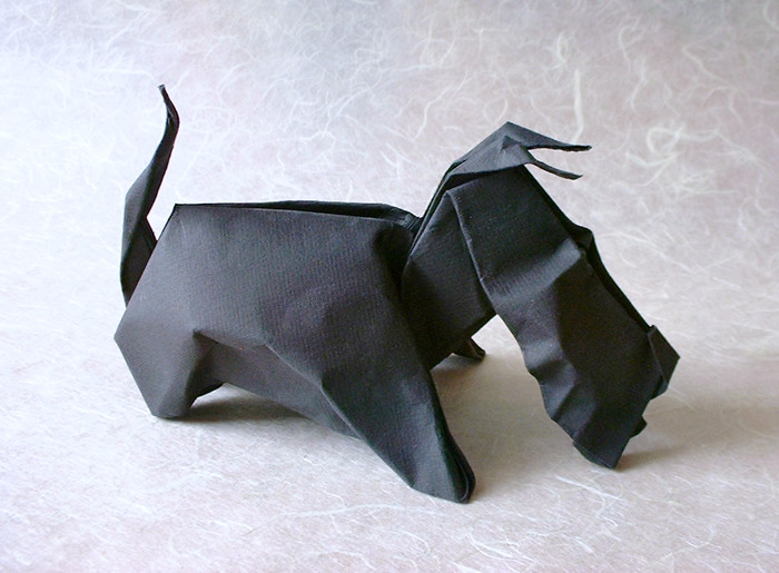 wet folded origami dog by Eric Joisel