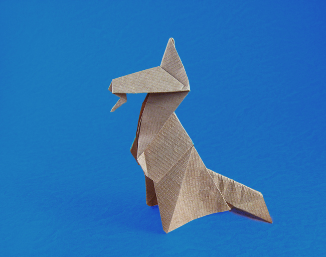 Origami Alsatian dog by Eric Kenneway folded by Gilad Aharoni