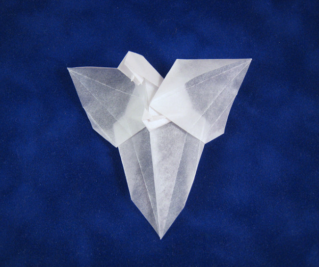 Origami Angel on the wall by Neal Elias folded by Gilad Aharoni