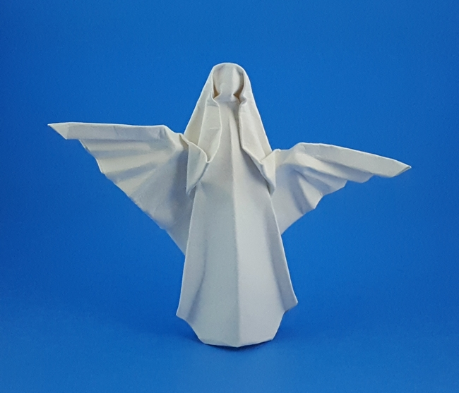 Origami Angel by John Smith Wet folded from a square of watercolor paper by Gilad Aharoni on giladorigami.com