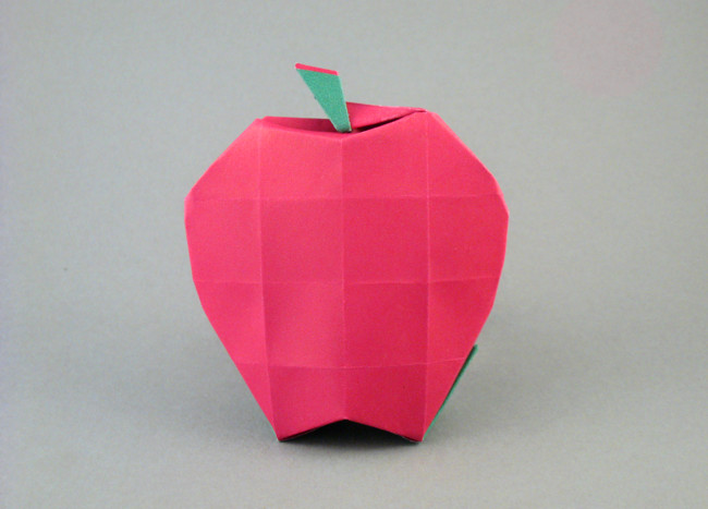 Origami Apple by Seo Won Seon (Redpaper) Folded from a square of duo origami paper by Gilad Aharoni on giladorigami.com