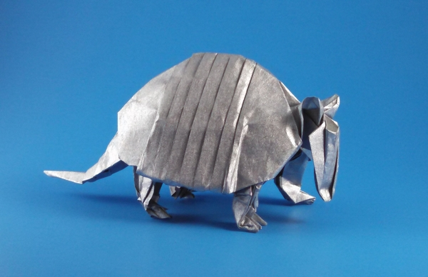 Origami Five-banded armadillo by John Szinger Folded from a square of Nicolas Terry's tissue-foil by Gilad Aharoni on giladorigami.com