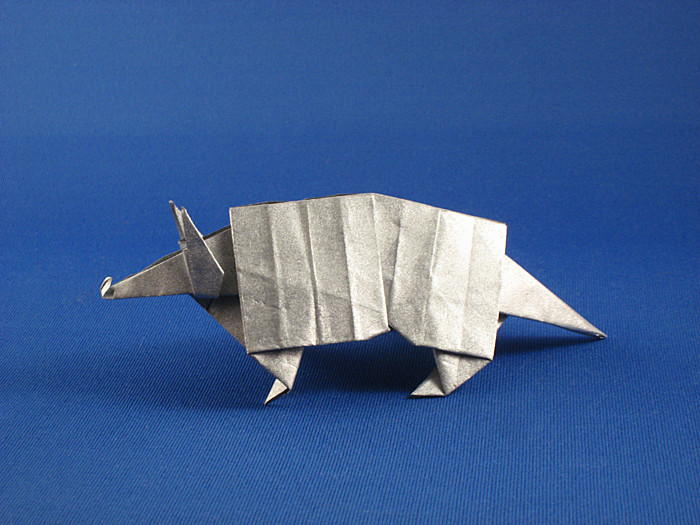 Origami Armadillo by Makoto Yamaguchi Folded from a square of Nicolas Terry's tissue-foil by Gilad Aharoni on giladorigami.com