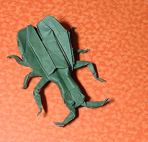 Origami Asparagus beetle by John Montroll folded by Gilad Aharoni