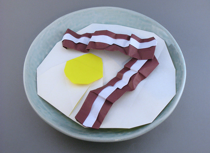 origami bacon egg