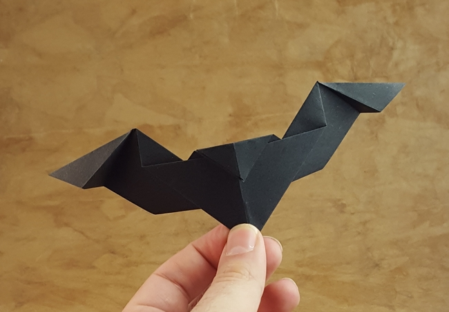 Origami Bat by Nicolas Terry Folded from a square of origami paper by Gilad Aharoni on giladorigami.com