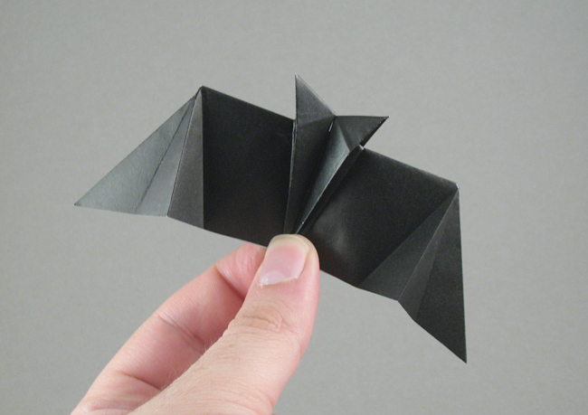 Origami Bat - flying by Stephen Weiss Folded from a square of origami paper by Gilad Aharoni on giladorigami.com