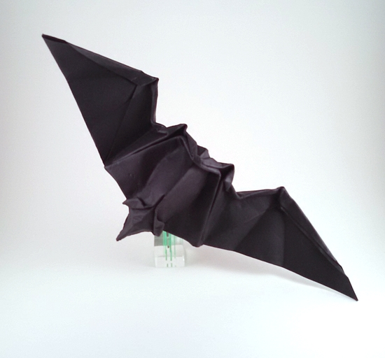 Origami Bat by Akira Yoshizawa Wet folded from a square of cardstock by Gilad Aharoni on giladorigami.com