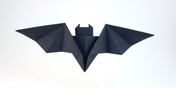 Origami Batarang by John Montroll Folded from a square of Tant by Gilad Aharoni on giladorigami.com