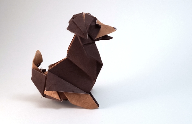 Origami Beagle by Roman Diaz folded by Gilad Aharoni