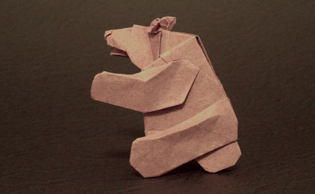 Origami Bear - sitting by Cesar Gonzales Folded from a square of thin wrapping paper by Gilad Aharoni on giladorigami.com