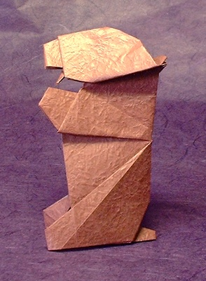Origami Bear by Seiji Nishikawa Folded from a square of Vietnamese wrapping-paper by Gilad Aharoni on www.giladorigami.com