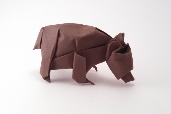 Origami Black bear by John Szinger Wet folded from a square of Canson paper by Gilad Aharoni on giladorigami.com