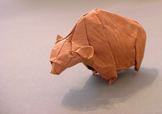 Origami Bear by Jozsef Zsebe Folded from a square of crepe-foil paper by Gilad Aharoni on giladorigami.com