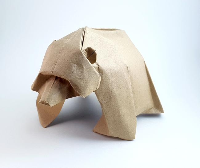 Origami Brown bear by Jozsef Zsebe Folded from a square of cardstock by Gilad Aharoni on giladorigami.com