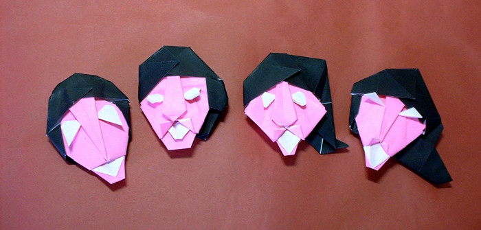 Origami Beatles by Nakamura Junya Folded from 2 squares of origami paper by Gilad Aharoni on giladorigami.com
