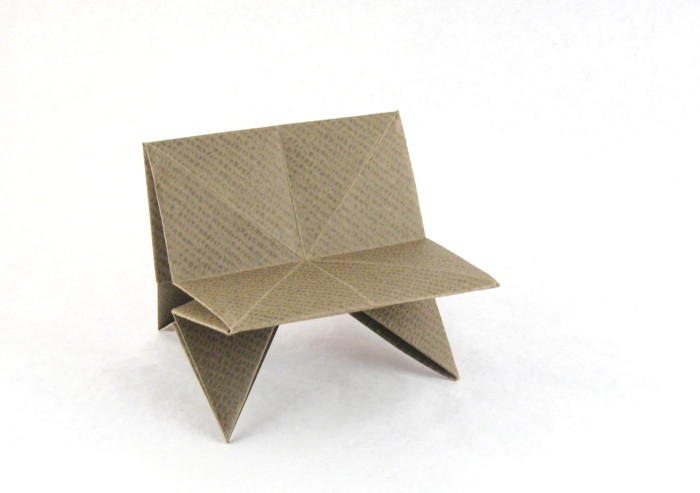 Origami Bench by Kunihiko Kasahara Folded from a square of textured origami paper by Gilad Aharoni on giladorigami.com