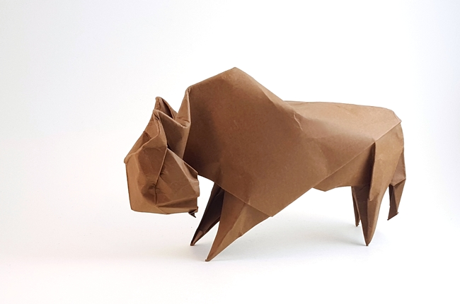 Origami Bison by Angel Morollon Guallar folded by Gilad Aharoni on giladorigami.com