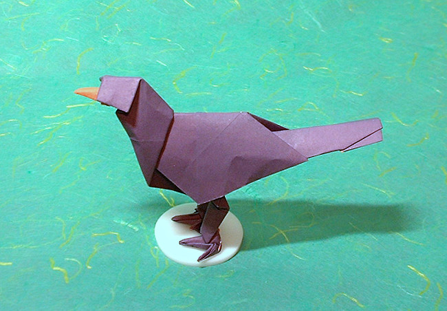 Origami Blackbird by Alfredo Giunta Folded from a square of origami paper by Gilad Aharoni on giladorigami.com