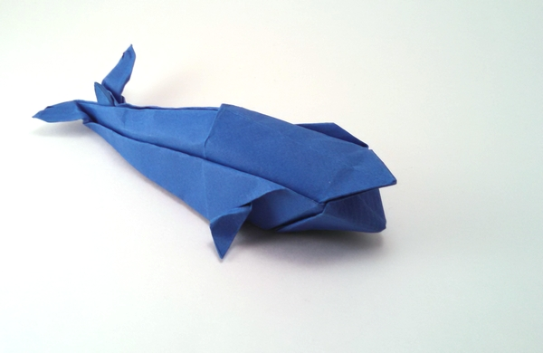 Origami Blue whale by John Montroll Wet folded from a square of art paper by Gilad Aharoni on giladorigami.com