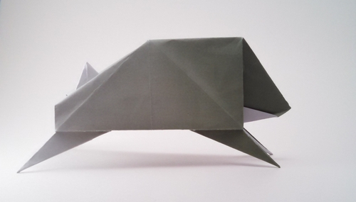 Origami Wild boar by Toshio Chino Folded from a square of cardstock by Gilad Aharoni on giladorigami.com