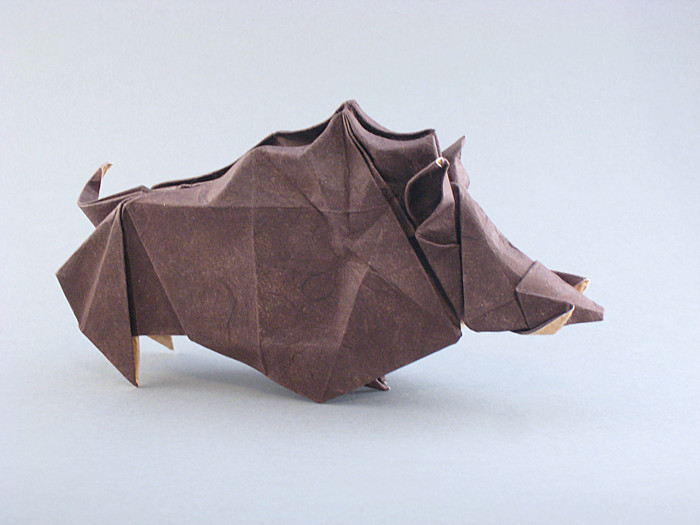 Origami Wild boar by Roman Diaz Wet-folded from a square of double-sided mulberry paper by Gilad Aharoni on giladorigami.com