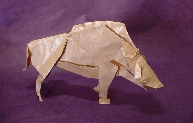 Origami Boar god (Inoshishigami) by Satoshi Kamiya folded by Gilad Aharoni on www.giladorigami.com