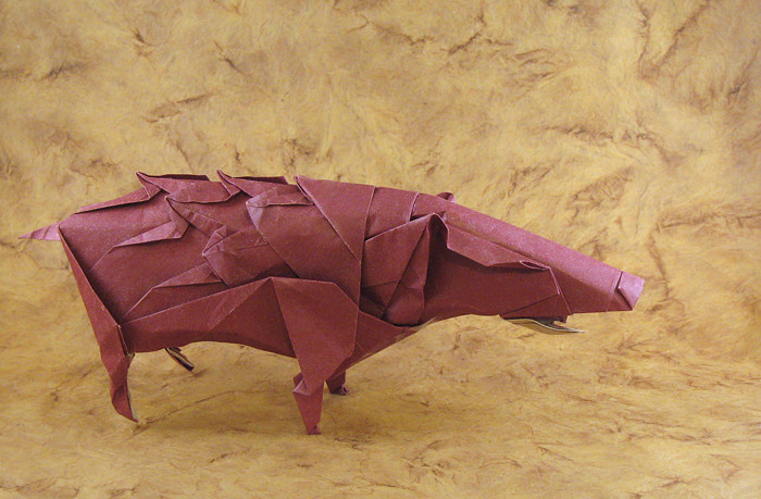 Origami Wild boar by Fumiaki Kawahata Folded from a square of wrapping-paper by Gilad Aharoni on giladorigami.com