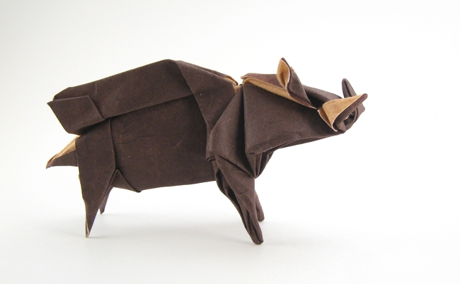 Origami Wild boar by Seiji Nishikawa Wet-folded from a square of double-sided mulberry paper by Gilad Aharoni on giladorigami.com