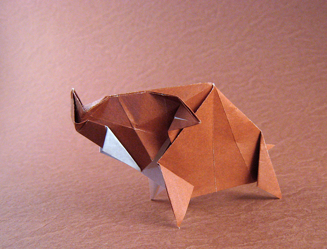 Origami Wild boar by Jun Maekawa Folded from a square of origami paper by Gilad Aharoni on giladorigami.com