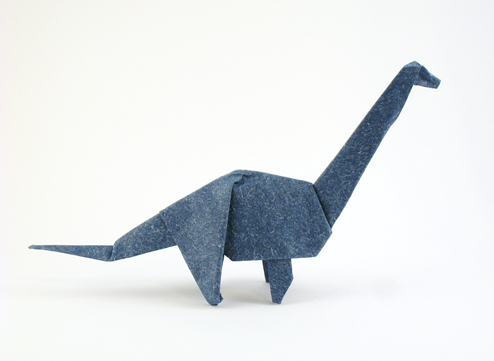 Origami Brachiosaurus by John Montroll Folded from a square of speckle-design origami paper by Gilad Aharoni on www.giladorigami.com