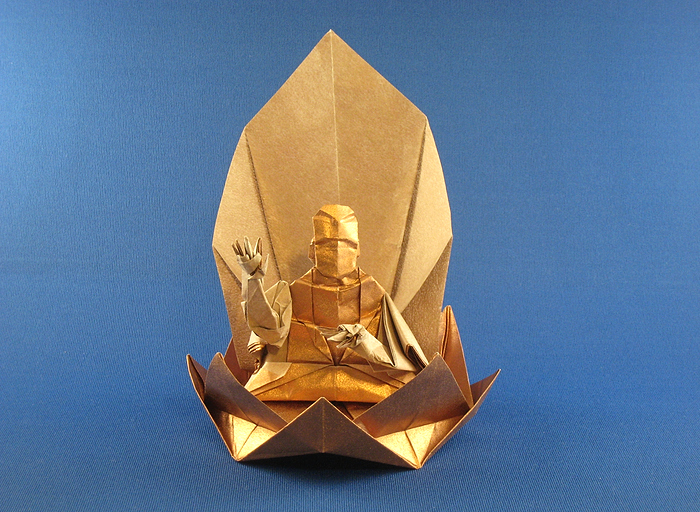 Origami Buddha by Hojyo Takashi folded by Gilad Aharoni on giladorigami.com
