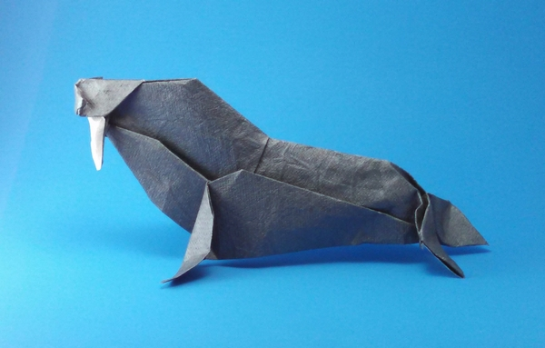 Origami Bull walrus by John Szinger Folded from a square of Crinkle Charcoal scrapbooking paper by Gilad Aharoni on giladorigami.com