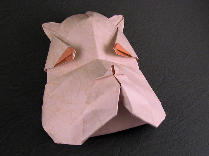 Origami Bulldog mask by Juan Gimeno Wet-folded from a square of double-sided mulberry paper by Gilad Aharoni on giladorigami.com