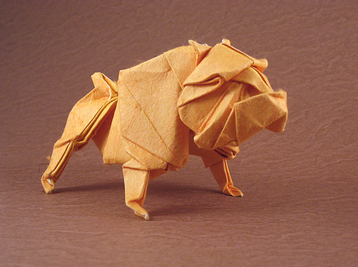 214 Square Origami Bulldog By Quentin Trollip Wet Folded From A Of Double Sided Mulberry