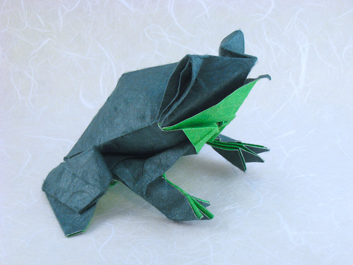 Origami Bullfrog by Roman Diaz Wet-folded from a square of double-sided mulberry paper by Gilad Aharoni on giladorigami.com