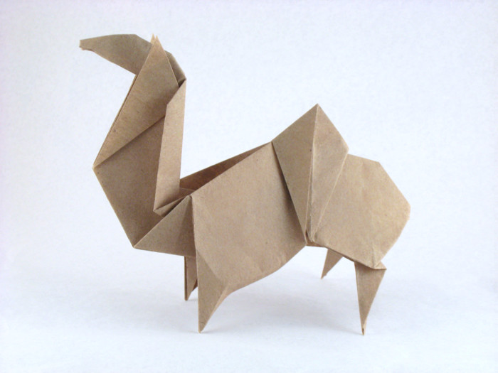 Origami Camel by Kunihiko Kasahara Folded from a rectangle of Trimaco masking paper by Gilad Aharoni on giladorigami.com
