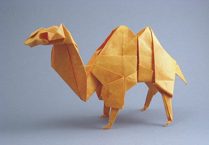 Origami Bactrian camel by Fumiaki Kawahata Folded from a square of Elephant-hide paper by Gilad Aharoni on giladorigami.com