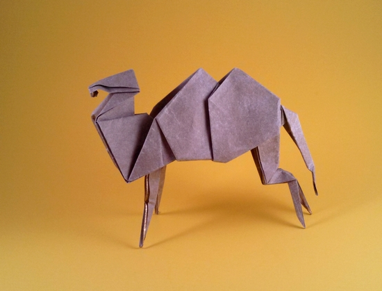 Origami Camel by Jun Maekawa Folded from a square of Nicolas Terry's tissue-foil by Gilad Aharoni on giladorigami.com