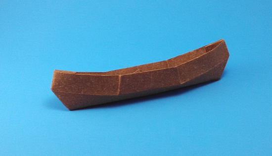 Origami Adirondack canoe by John Szinger Folded from a square of speckle-design paper by Gilad Aharoni on giladorigami.com