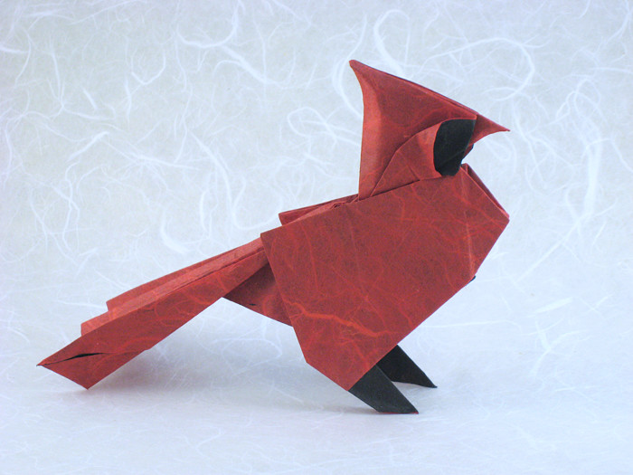 Origami North American Cardinal by Roman Diaz Folded from a square of double-sided Unryu paper by Gilad Aharoni on giladorigami.com