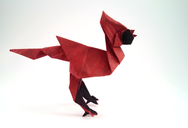 Origami Cardinal by Sebastien Limet (Sebl) Folded from a square of double-sided Unryu paper by Gilad Aharoni on giladorigami.com