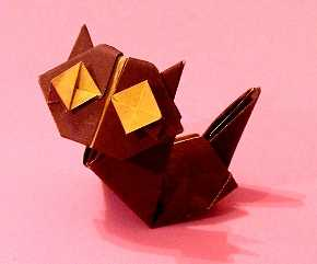 Origami Cat by Kunihiko Kasahara Folded from a square of duo origami paper by Gilad Aharoni on giladorigami.com