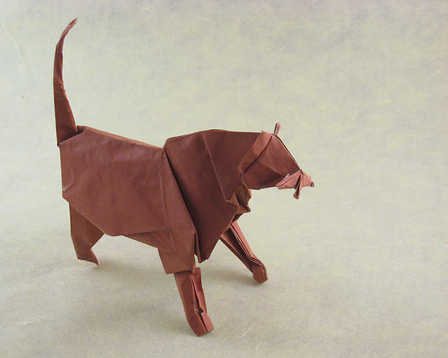 22 Square Origami Cat By Fumiaki Kawahata Folded From A Of Painted Trimaco Paper Gilad Aharoni