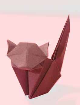 Origami Cat by Jun Maekawa folded by Gilad Aharoni on giladorigami.com