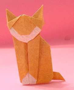 Origami Cat by Martha Mitchen Folded from a square of momigami by Gilad Aharoni on giladorigami.com