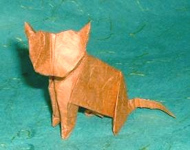 Origami Cat by John Montroll Folded from a square of rice paper by Gilad Aharoni on giladorigami.com